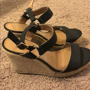 Black and Tan wedges size 9